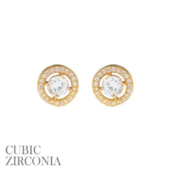 Gold Clear 5mm CZ Cubic Zirconia Round Stud Earrings ( 25730 G )