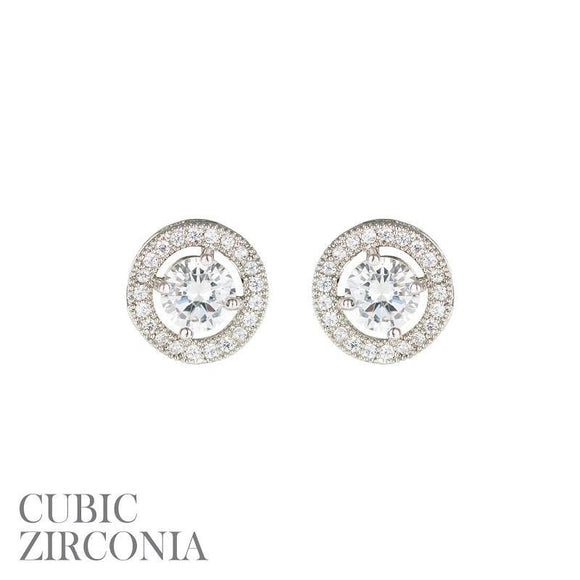 Silver Clear 5mm CZ Cubic Zirconia Round Stud Earrings ( 25730 S )