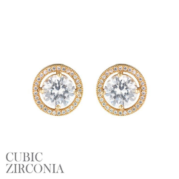 Gold Clear 8mm CZ Cubic Zirconia Round Stud Earrings ( 25731 )