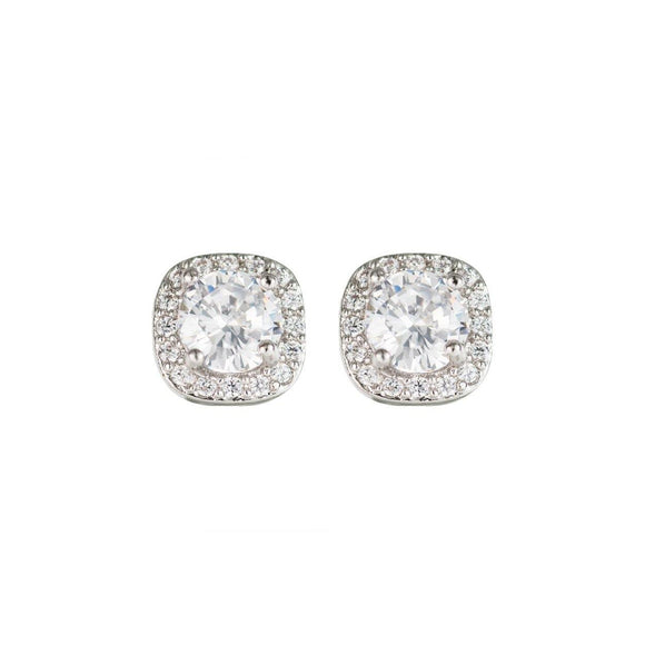 Silver Stud Earrings With Cubic Zirconia ( 25793 S )