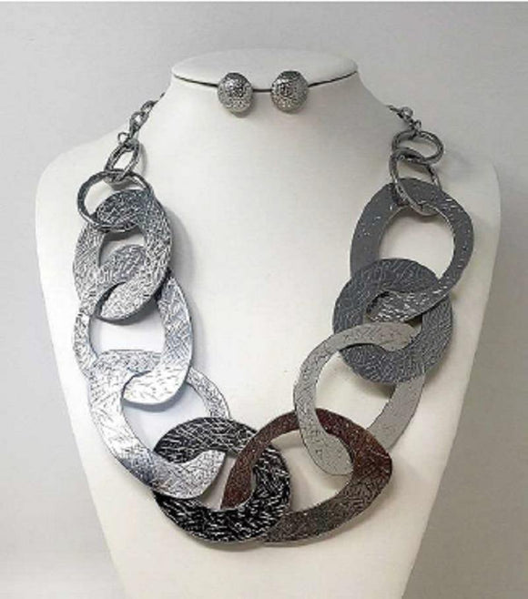 SILVER METAL RING NECKLACE SET ( 10017 )