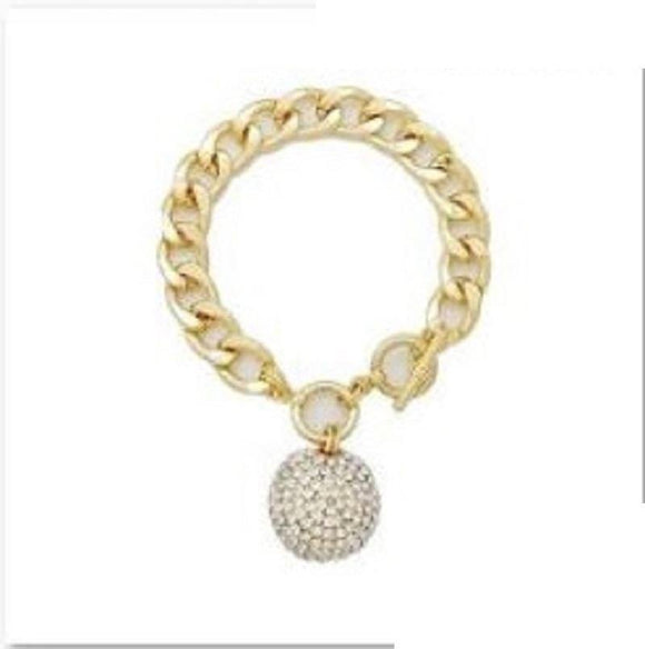 GOLD BRACELET BALL CLEAR STONES ( 2046 GDCLR )