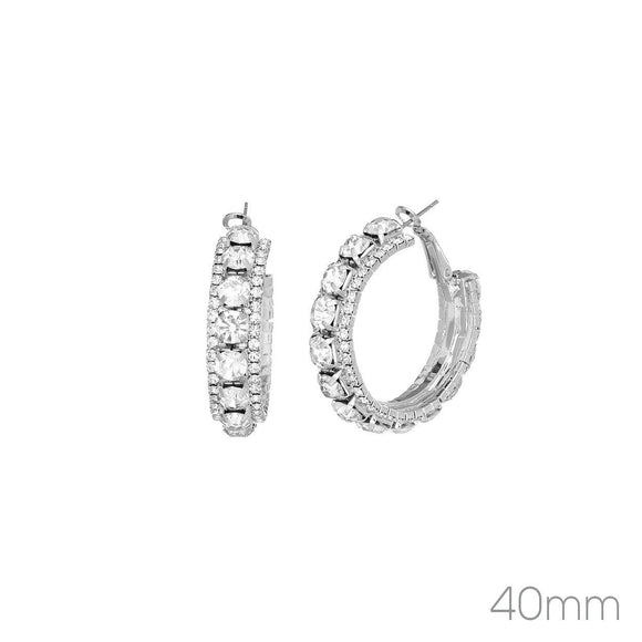 40MM SILVER HOOP EARRINGS CLEAR RHINESTONES ( 26277 _40)