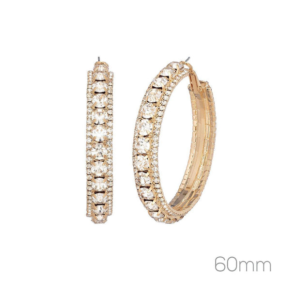 60MM GOLD HOOP EARRINGS CLEAR RHINESTONES ( 26277 _60)
