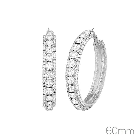 60MM SILVER HOOP EARRINGS CLEAR RHINESTONES ( 26277 _60)