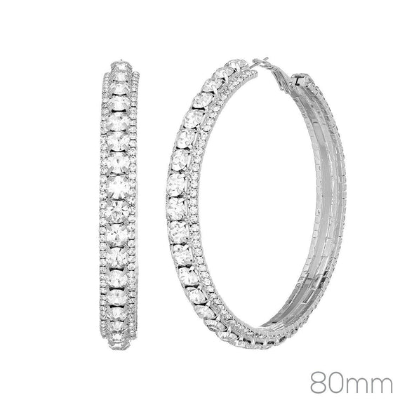80MM SILVER HOOP EARRINGS CLEAR RHINESTONES ( 26277 _80)