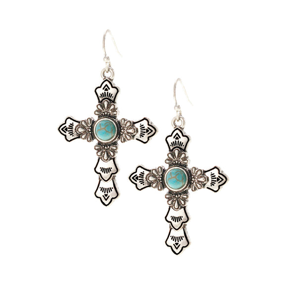 DANGLING CROSS AND TURQUOISE EARRINGS ( 26372 )