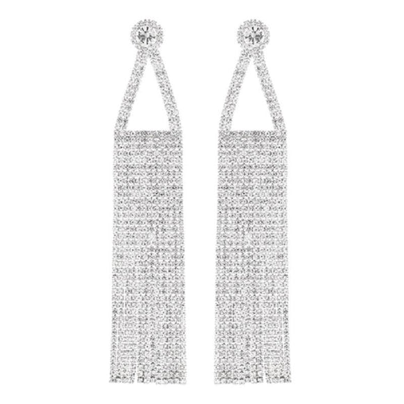 DANGLING SILVER EARRINGS WITH CLEAR STONES ( 26375 S )