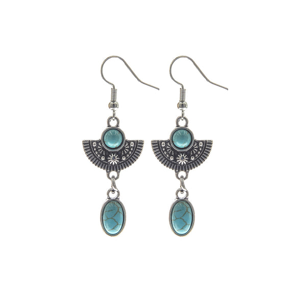 DANGLING SILVER AND TURQUOISE EARRINGS ( 26487 )