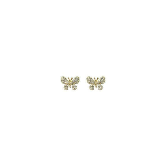 GOLD BUTTERFLY EARRINGS STUD CLEAR STONES ( 26751 CRG )