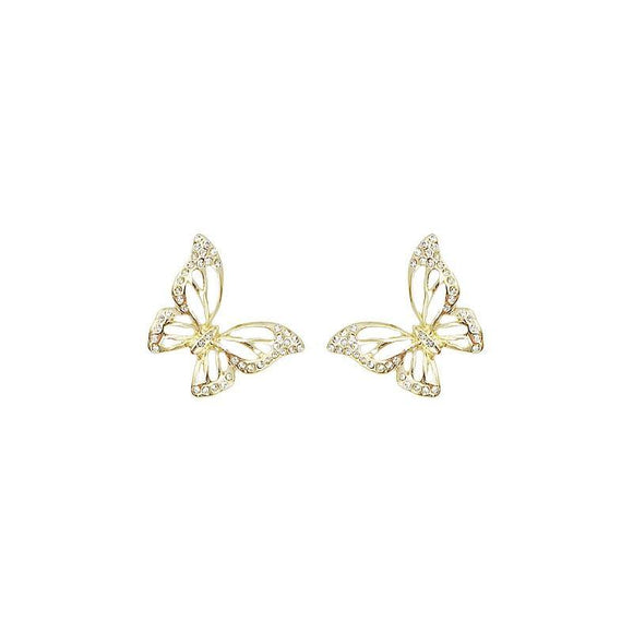GOLD BUTTERFLY EARRINGS CLEAR STONES ( 26752 CRG )