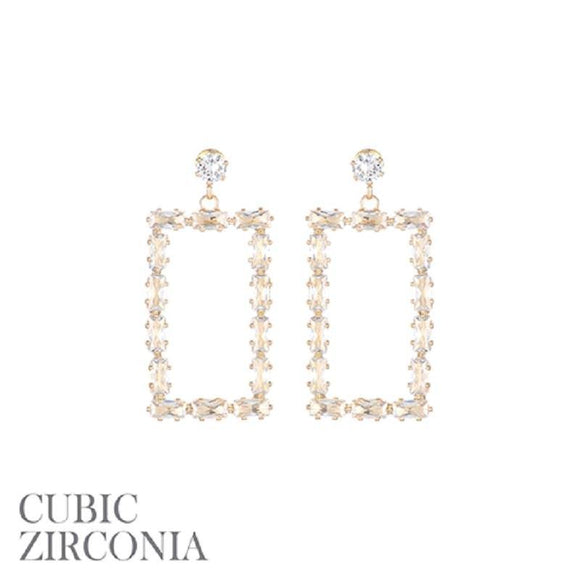 DANGLING GOLD RECTANGLE EARRINGS CLEAR STONES ( 26846 )