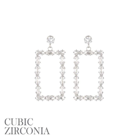 DANGLING SILVER RECTANGLE EARRINGS CLEAR STONES ( 26846 S )