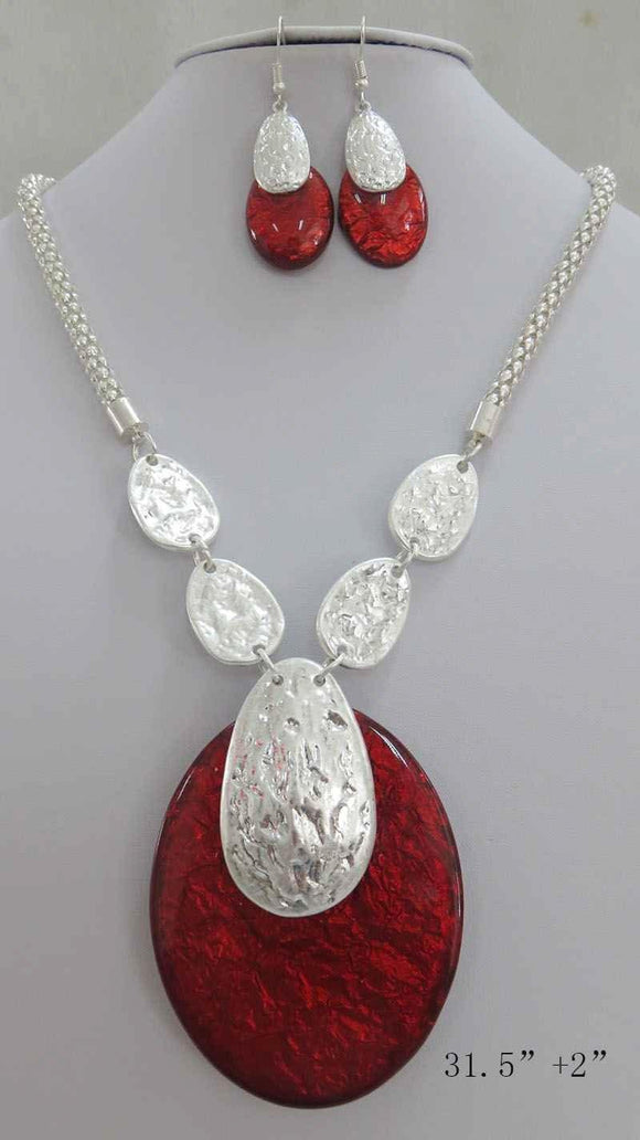 LONG SILVER NECKLACE SET RED ACRYLIC PENDANT ( 3707 MSRD ) - Ohmyjewelry.com