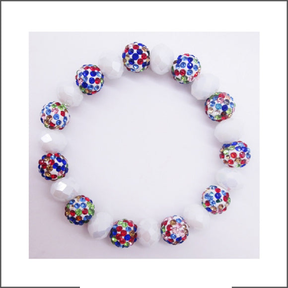 10MM RHINESTONE WHITE MULTI COLOR CRYSTAL BEADED STRETCH BRACELET ( 03 31 )