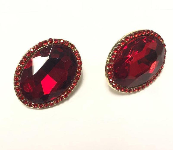 GOLD  CLIP ON EARRINGS RED STONES ( 0198 C 2R )