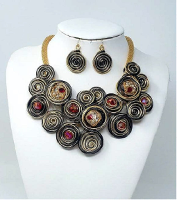 GOLD BLACK RED SWIRL NECKLACE SET COIL ( 10101 )