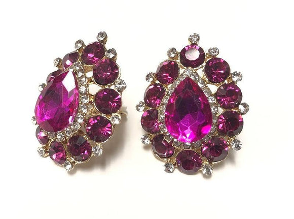 GOLD CLIP ON EARRINGS FUCHSIA CLEAR STONES ( 0203 C 2F )