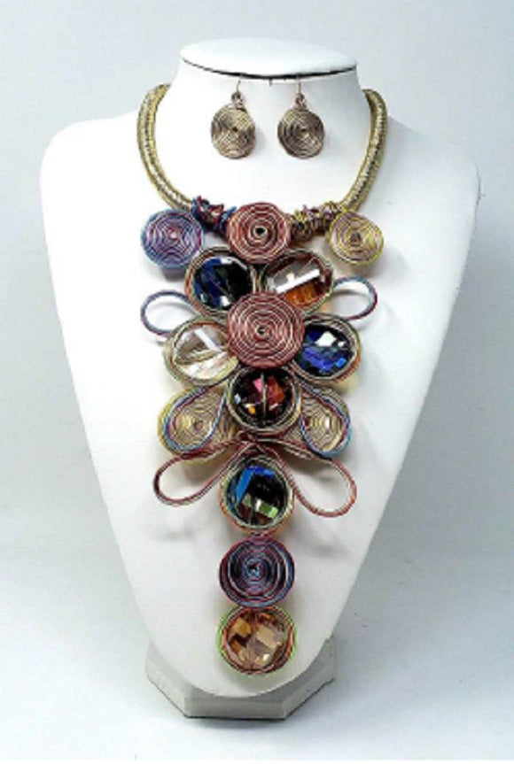 Gold Corded Necklace with MULTI COLOR Wired Peach Stones ( 2368 )