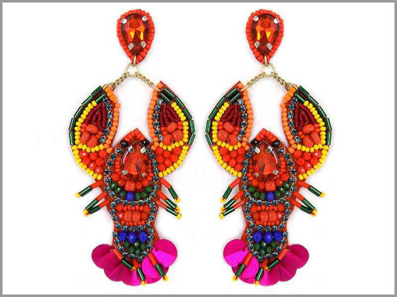 MULTI COLOR BEAD SEQUIN LOBSTER EARRINGS ( 3264 )