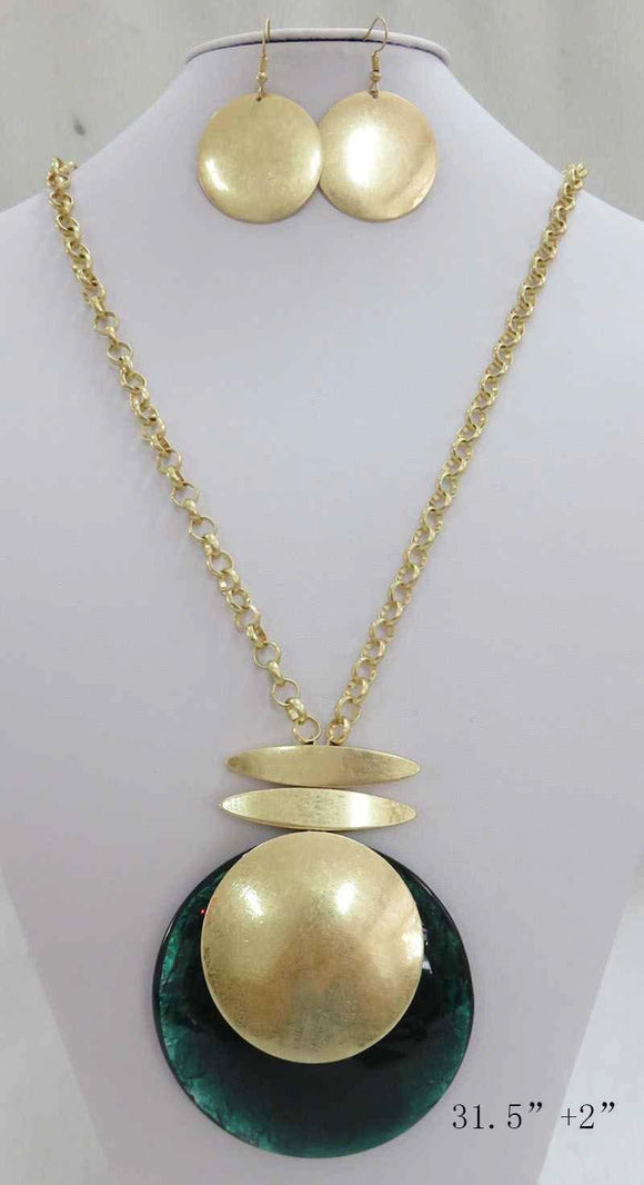 LONG GOLD NECKLACE SET CIRCLE GREEN PENDANT ( 3710 MGGN ) - Ohmyjewelry.com