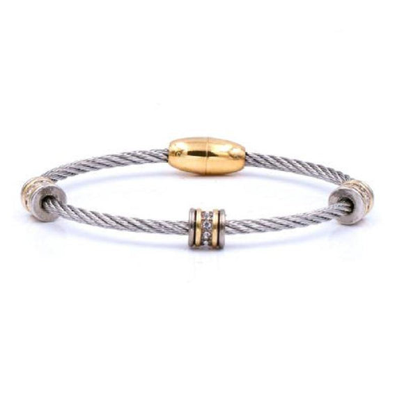SILVER GOLD CABLE BANGLE CLEAR STONES ( 7114 SG )