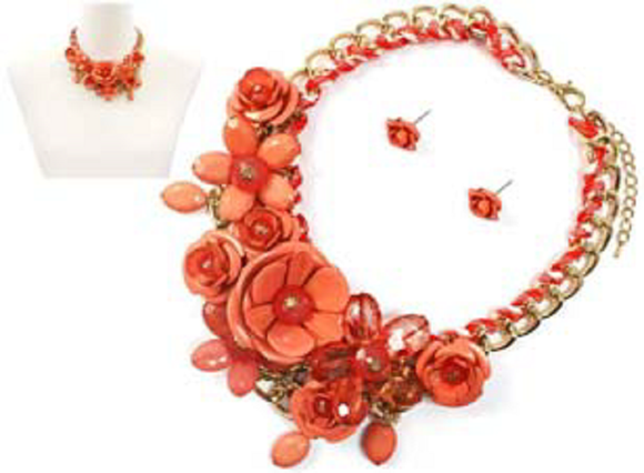 GOLD CORAL FLOWER NECKLACE SET ( 1234 )