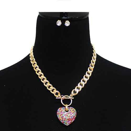 Large Gold MULTI COLOR Rhinestone Puffy Heart Charm Toggle Necklace ( 7075 GDMLT )