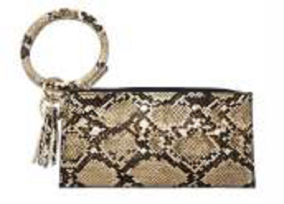 SNAKE SKIN PLEATHER BAG WITH KEY RING TASSEL 20CM X 10CM ( 021 )