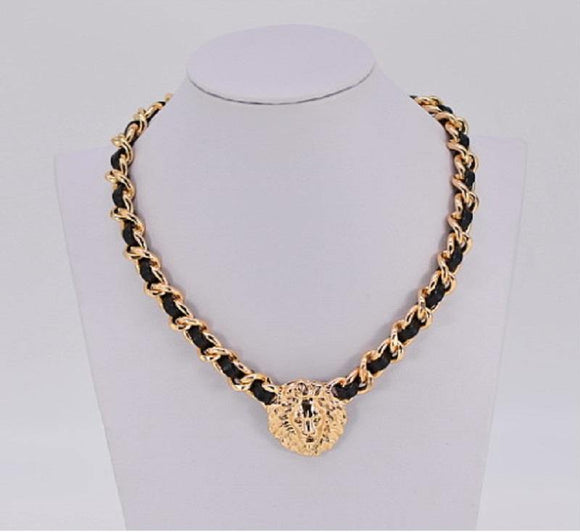 GOLD BLACK NECKLACE LION HEAD LEATHER METAL ( 1405 GLBLK )
