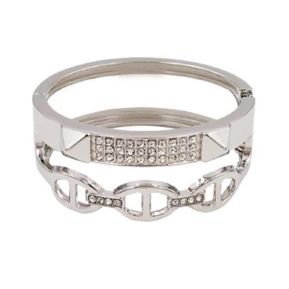 SILVER PLATED HINGED BANGLE CLEAR STONES ( 5396 )