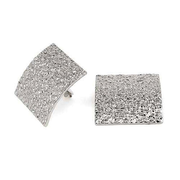 SILVER TEXTURED CLIP ON EARRINGS ( 3309 )