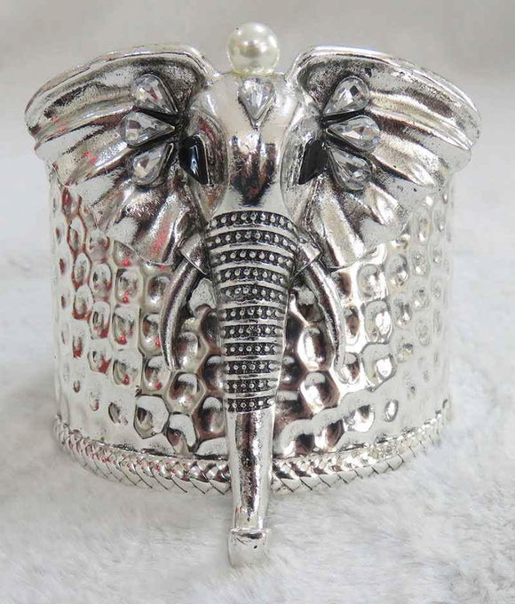 ANTIQUE SILVER HAMMERED ELEPHANT HEAD CUFF BANGLE ( 3935 AS )