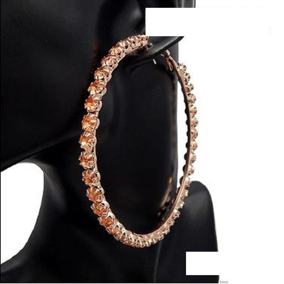 80mm ROSE Gold PEACH Rhinestone Hoop Earrings ( 3036 )