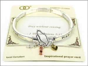 THREE TONED STRETCH BRACELET THESSALONIANS 5:17 ( 04511 )
