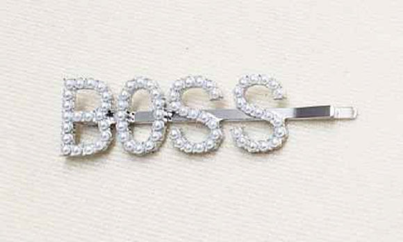 SILVER BOSS HAIR PIN WHITE PEARLS ( 6062 )