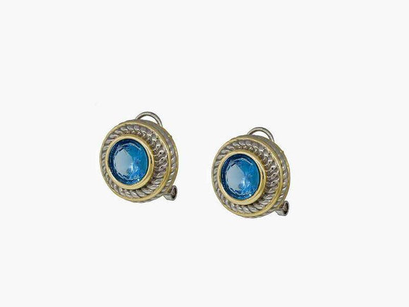 SILVER GOLD FRENCH CLIP ON EARRINGS TEAL CZ CUBIC ZIRCONIA STONE ( 7718 TL )