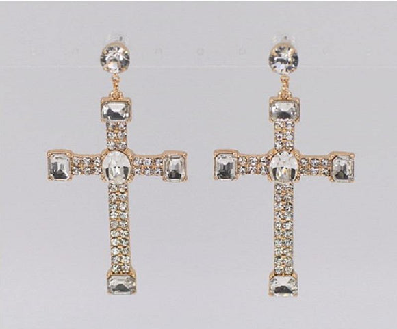 GOLD CROSS EARRINGS CLEAR STONES ( 1924 GLCRY ) - Ohmyjewelry.com