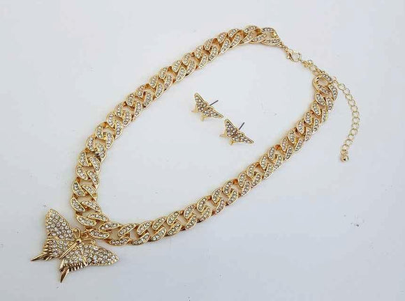 GOLD CHAIN NECKLACE SET BUTTERFLY CLEAR STONES ( 1154 )