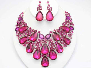 SILVER NECKLACE SET WITH FUCHSIA RHINESTONES ( 18714 )