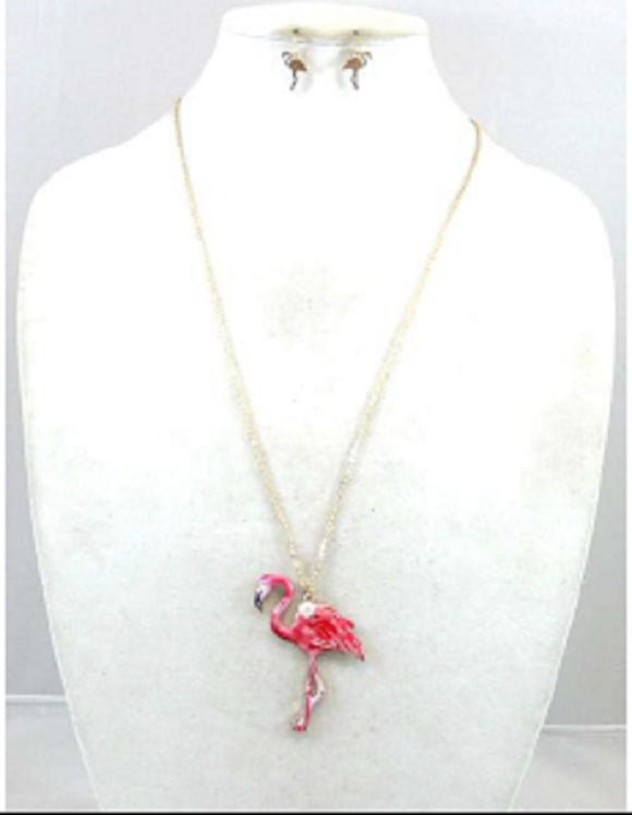 LONG GOLD NECKLACE SET FLAMINGO PENDANT ( 0741 )