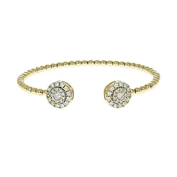 GOLD CUFF BANGLE CLEAR CUBIC ZIRCONIA STONES ( 1101 )