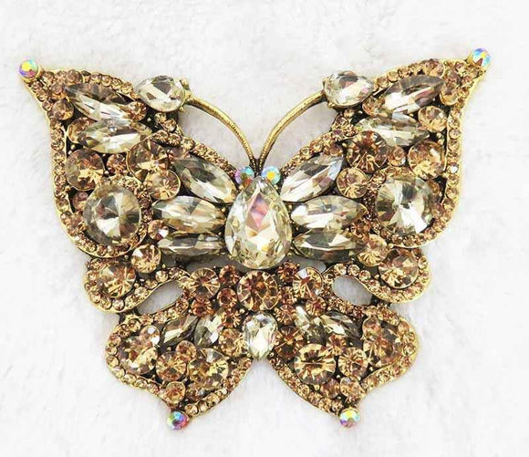 LARGE BUTTERFLY BROOCH PENDANT GOLD TOPAZ ( 2977 )