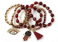 5 STRETCH BRACELET RED HAMSA EVIL EYE CHARMS ( 5190 )