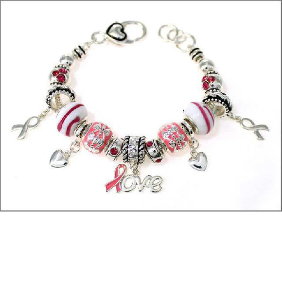 SILVER CHARM BRACELET WITH PINK RIBBON CHARMS AND HEARTS ( 05044 )