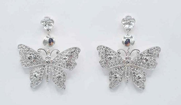 SILVER BUTTERFLY EARRINGS CLEAR STONES ( 1191 RHCRY )