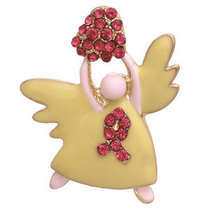 Pink Ribbon Breast Cancer Awareness Enamel Angel and Rhinestone Brooch