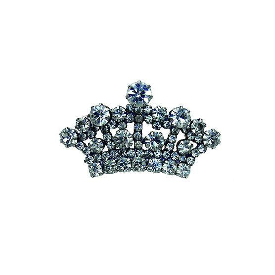 Clear Rhinestone Crown Brooch 1 1/2