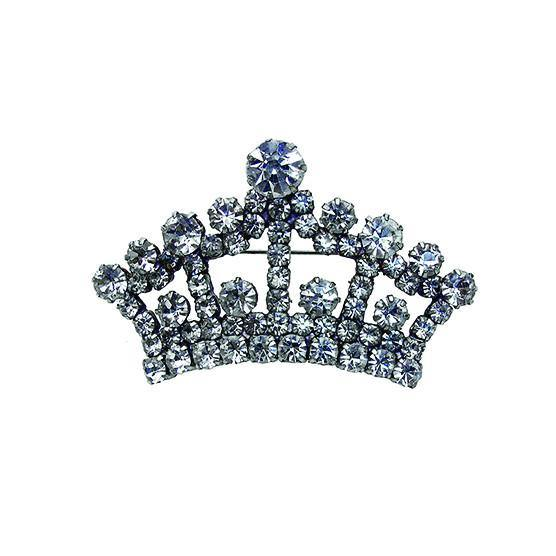 Clear Rhinestone Crown Brooch 2