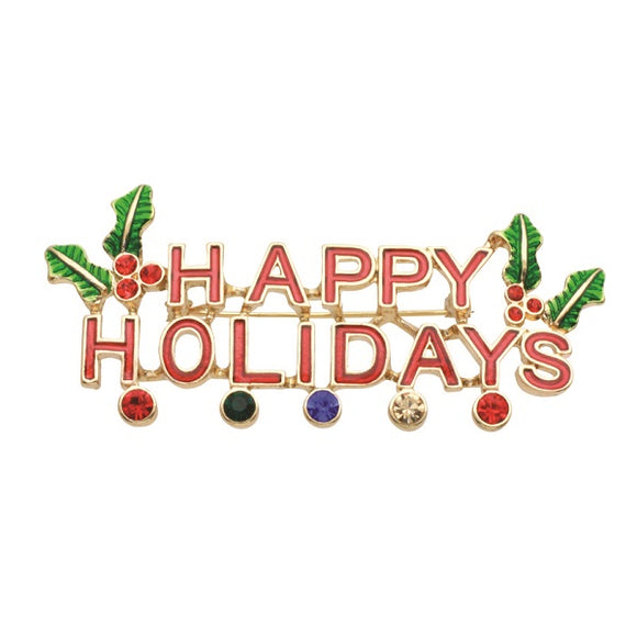 Multi Color HAPPY HOLIDAYS Christmas Brooch Pin ( 30617 )